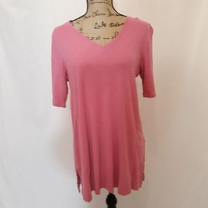 J.jill Pima Elbow Sleeve tunic, pink, medium LNC